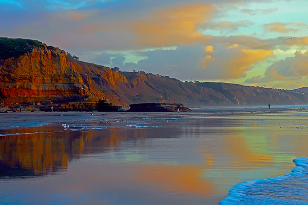 Sunset reflection during a minus tide at Flat Rock : Torrey Pines State Reserve Images : Peregrine Falcon photos by Will James Sooter